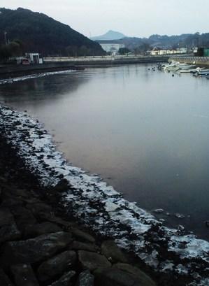 自宅前の海辺に氷が